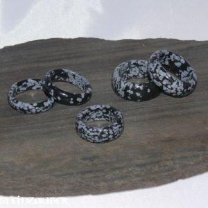 Edelstein Ring Schneeflockenobsidian