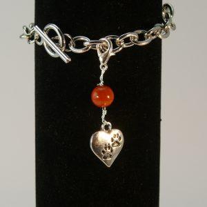 Charms Herz mit Pfoten Roter Jaspis