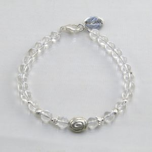 Edelsteinarmband aus fBergkristall mit 925 Sterlingsilber