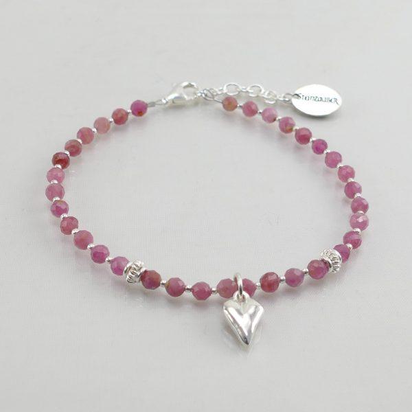 Edelsteinarmband aus facettiertem pinkfarbenem Turmalin mit 925 Sterlingsilber