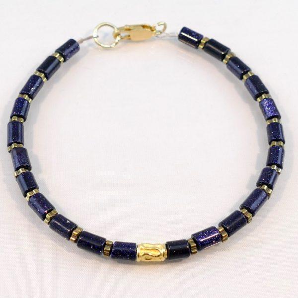 Edelsteinarmband aus Blaufluss , Silber und Hämatitelementen