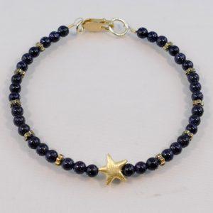 Edelsteinarmband aus Blaufluss, vergoldetem-Silber und Hämatitelementen