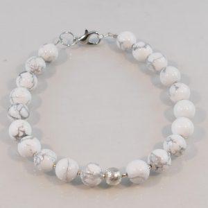 Edelsteinarmband aus Magnesit, Silber 925