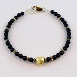Edelsteinarmband aus Onyx, vergoldetem-Silber und Hämatitelementen