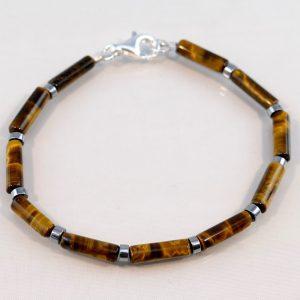 Edelsteinarmband aus Tigerauge und Hämatitelementen