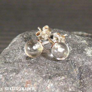 Ohrstecker Silber mit Bergkristall 6 mm