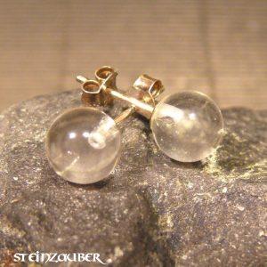 Ohrstecker Silber mit Bergkristall 8 mm