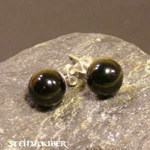 Ohrstecker Silber mit Onyx 6 mm