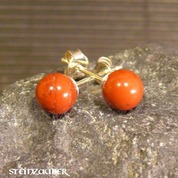 Ohrstecker Silber mit rotem Jaspis 6 mm