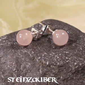 Ohrstecker Silber mit Rosenquarz 6 mm