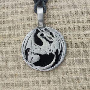 Zinn Amulett Drachenkreis Drache