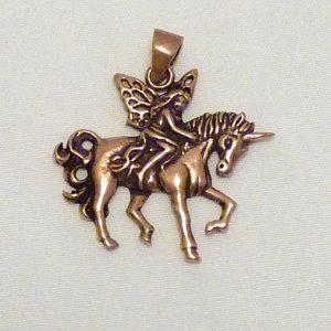 Bronze Amulett Elfe Einhorn