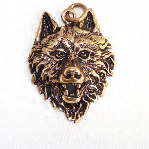 Amulett Wolfskopf aus Bronze