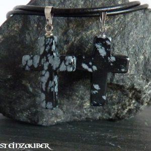 Kreuz aus Schneeflockenobsidian