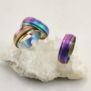 Edelstahlring Rainbow Cateye Effekt