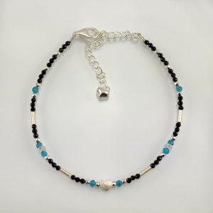 Edelsteinarmband aus Blaufluss und Apatit mit 925 Sterlingsilber