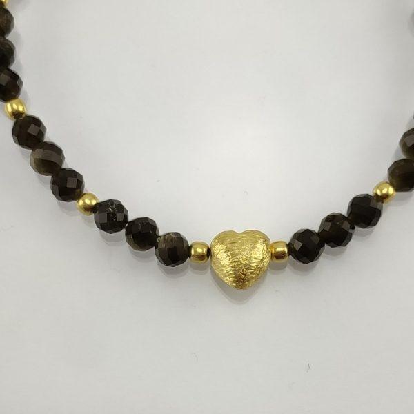 Edelsteinarmband aus facettiertem Goldobsidian mit vergoldetem 925 Sterlingsilber
