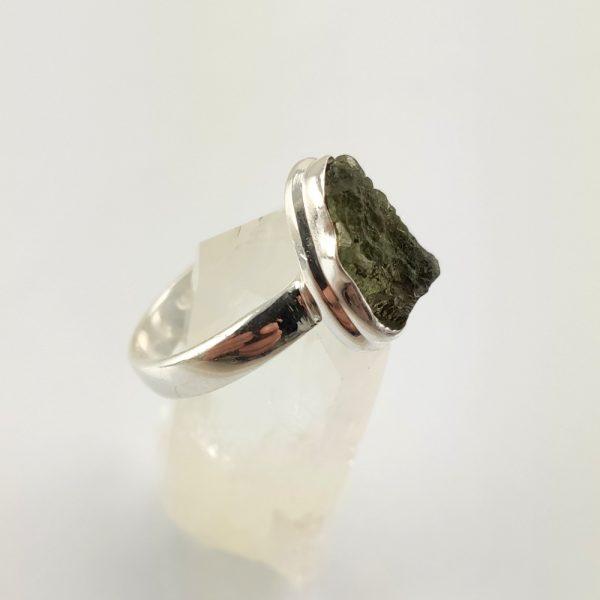 Moldavit Ring in Sterlingsilber