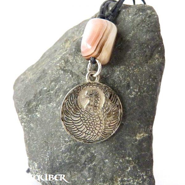 Amulett Drache und Phönix aus Zinn mit einem Achat Schutzstein