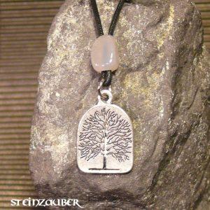 Amulett Lebensbaum aus Zinn mit einem Achat Schutzstein