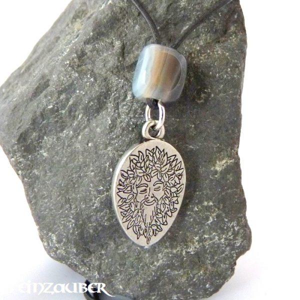 Amulett Waldgeist aus Zinn mit einem Achat Schutzstein