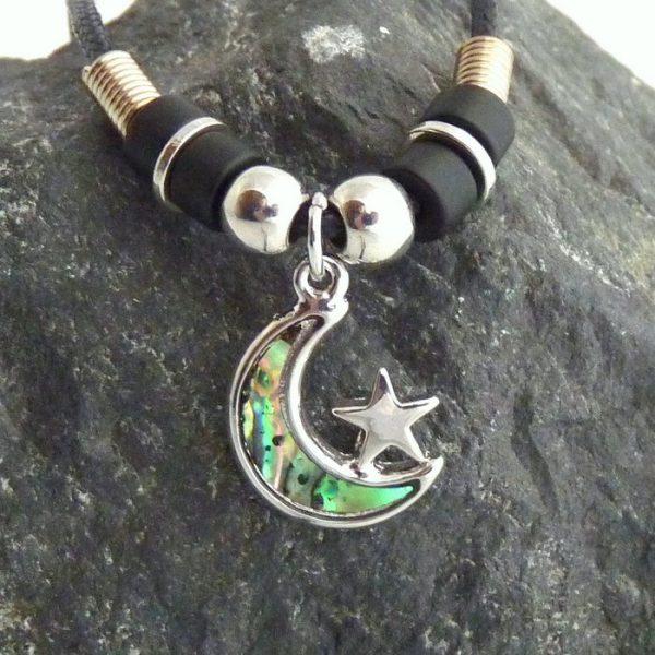 Paua Abalone Kette Mond und Stern