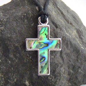 Paua Abalone Kette Kreuz