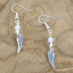 Ohrring Flügel Rosenquarz