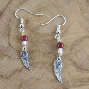 Ohrring Flügel Roter Jaspis