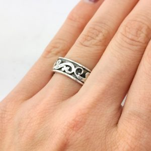 Ring floralen Ranken Silber