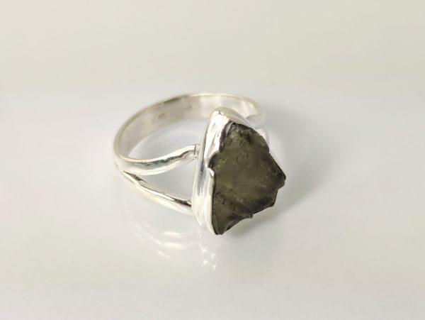 Ring Moldavite Silber
