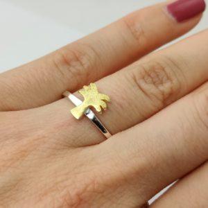 Ring Palme 925 Silber matt vergoldet Stapelring