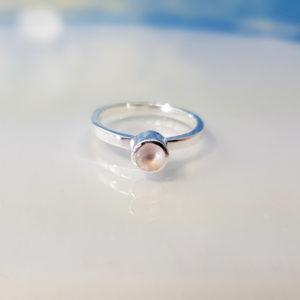 Ring Silber Rosenquarz Stapelring